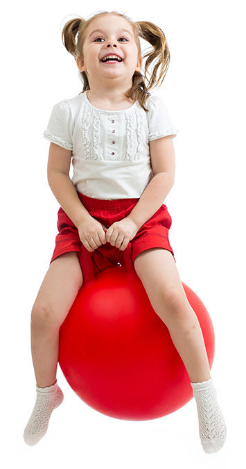 Girl On Red Bouncing Ball
