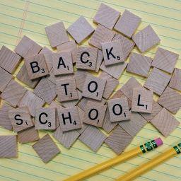 Back to school in scrabble tiles