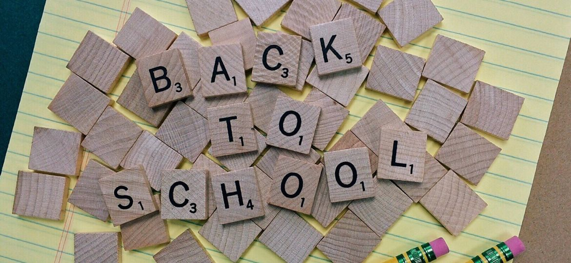 Back to school in scrabble tiles