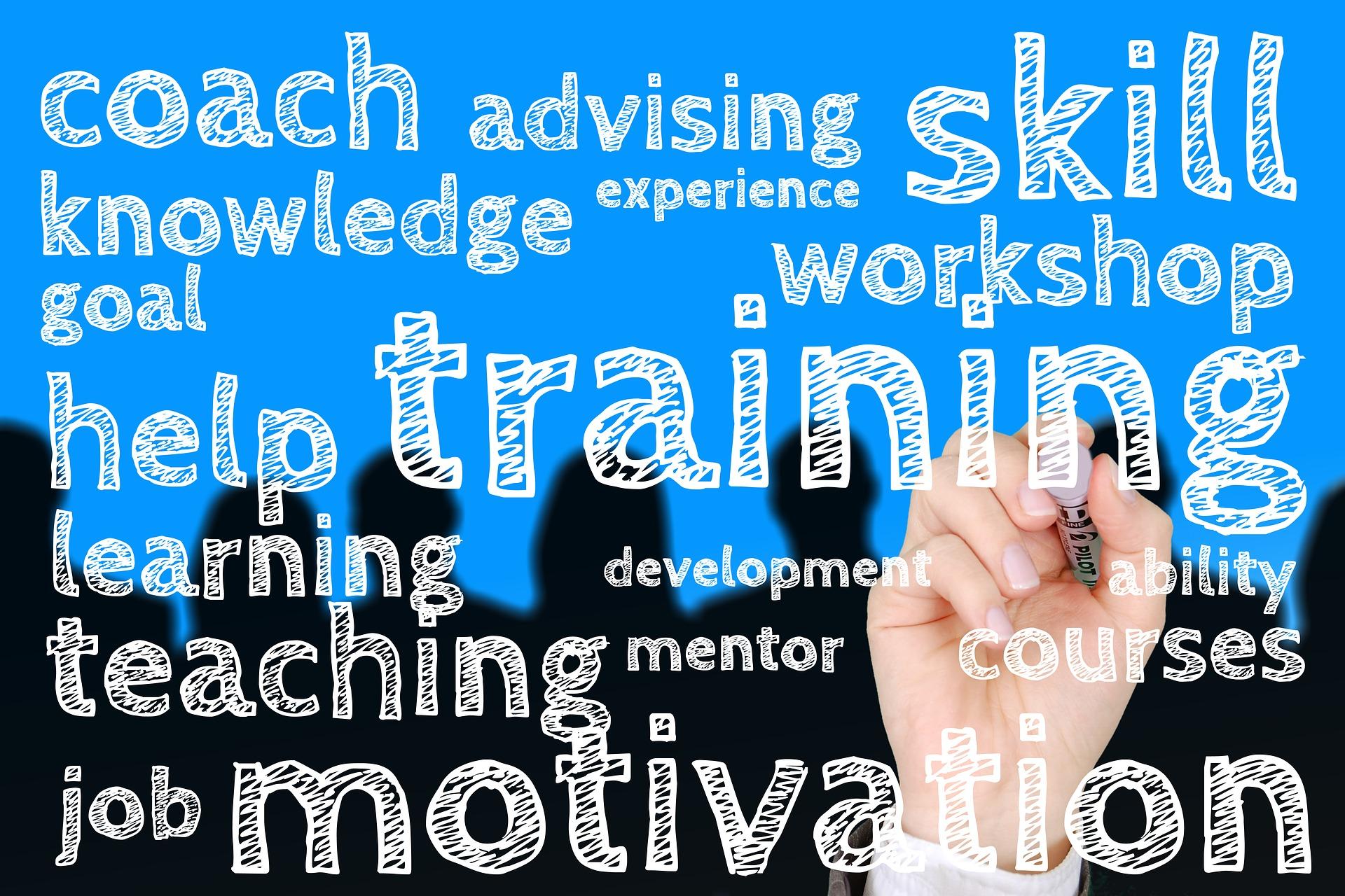 coach advise skill workshop training word cloud