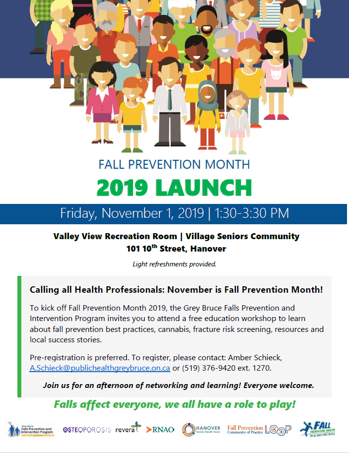 5x7 poster for a health educator event on Friday November 1 at the Village Seniors Community in Hanover. Pre-registration is preferred. To register, please contact: Amber Schieck, A.Schieck@publichealthgreybruce.on.ca or (519) 376-9420 ext. 1270.