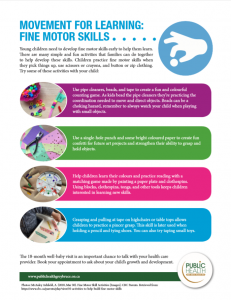 Movement for learning fine motor skills chart