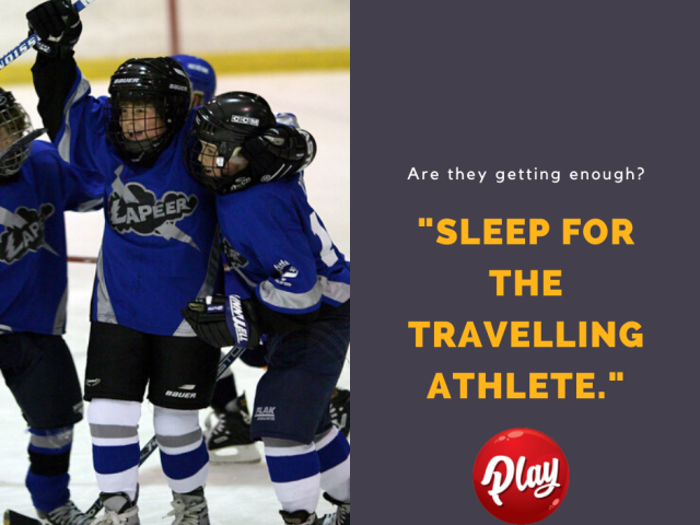 """Kids Playing Hockey """"Sleep for the travelling athlete"""""""